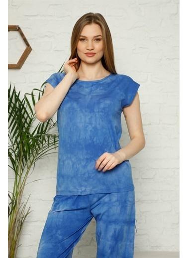 Akbeniz Kadın %100 Pamuk Penye Kolsuz Kapri Pijama Takım 3354 Mavi